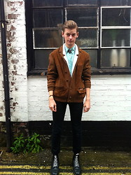 Joe Graham - Vintage Jacket, Topman Thin Cotton Blazer/Cardigan, Vintage Mint Silk Shirt, American Apparel Tan Leather Watch - Window shopping