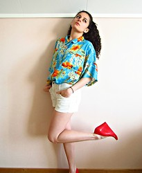 Daniela G. - Soon To Vintage Tropical Blouse, American Apparel Corduroy White Shots, Melissa Plastic Wedges - From hawaii with love