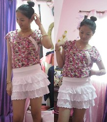 Carmelle Montalbo - White Skirt, Floral Top - Floral top