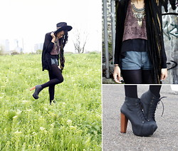 Zizzi's Wardrobe - Forever 21 Necklace, Beyond Retro & Diy Denim Cut Offs, Palamino Gallo Tank Top, Beyond Retro Hat, Jeffrey Campbell Black Lita Boots, H&M Sheer Shirt - Dye Your Hair Suicide Blonde...