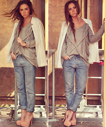 Lisa Olsson - Gina Tricot Jacket, Modekungen Knitted Sweater, Crockers Jeans, Topshop Heels, Wildcouture Bracelets - PALE PEACH.