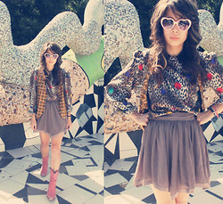 Kimberly Nguyen - 99 Cent Store Heart Shape Sunglasses, Vintage Shoulder Padded Silk Leopard Blouse, Vintage Beaded Detail Vest, Forever 21 Chiffon Skirt, Rampage Cowboy Boots - Tea Garden Of No Magic