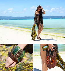 Laureen Uy - Versace Sunnies, H&M Bikini, Tsunami Wear Cover Up, Sm Accessories Bangles/ Scarf, Island Girl Flats - Beach Bum (BMS)