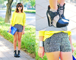 Kookie B. - Copper Silver Sequined Shorts, Sam Edelman Zoe Boots, Made U Look Blue Carry All Clutch - Silver Sparklers