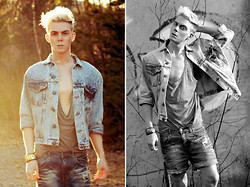 Robbie Jonsson - Second Hand Denim Jacket, H&M Top, Blond Accessories Bracelet, Monki Shorts - I'm Rob, but they call me Dangerous.