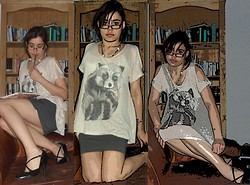 Jennifer G - Primark Racoon T Shirt, Jane Norman Grey Mini Skirt, Bench Green Glasses, Black Closed Toe Stiletto Heels - Lost in a story