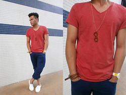 Paul Ramos - H&M Vneck Tees, Zara Blue Jeans, Cedar Wood State Loufers, Forever 21 Necklace/Leopard Nerd Glass Design, Lacoste Multi Color Wrist Watch, H&M Strappy Bracelet - Cool breeze