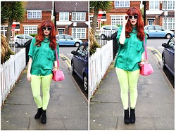Chloë Carter - Vintage Bright Green Blouse, Topshop Neon Green Jeggings, Topshop Black Wedges, Topshop Bright Pink Bag, Topshop Clear Framed Sunnies, Topshop Gold Chain - When it Rains, Wear Neon