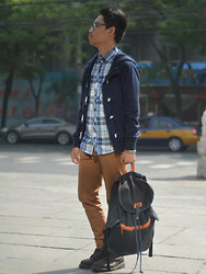 CP Garcia - Zara Jacket With Toggles, H&M Plaid Shirt, H&M Chinos, Dr. Martens Boots, Sm Department Store Rucksack - Beijing look #3