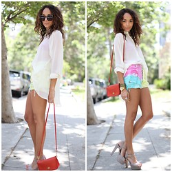 Ashley M - Vintage Shorts, Steve Madden Shoes, Coach Bag - Rainbow