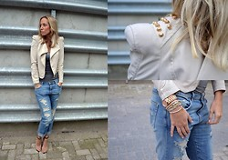 Ellis In Fashionland - Marc By Jacobs Bracelets, B.Loved Bracelets, Zara Damaged Denim, Balenciaga Jacket   Studded, Zara Strappy Sandals, Michael Kors Rose Gold Watch, Cos Grey Top - DAMAGED DENIM AT ELLISINFASHIONLAND