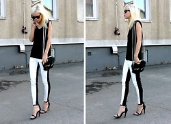 Victoria Törnegren - Trousers, Shoes, H&M Tank - Colourblock without colours.