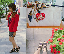 Kaila Ocampo - Forever 21 Chili Red Blazer, Harajuku Nautical Bow Clip, Samantha Vega White Hand Bag - For A Change