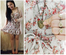 Lee.Sze ♥ - Second Hand Vintage Shop Powder Pink Cardigan, Second Hand Vintage Store Floral Ruffle Dress, Heart Necklace, Accessorize Set Of 3 Rings - ✿(◠‿◠)✿