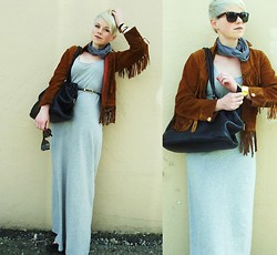 Catie Beatty - Vintage Suede Jacket, H&M Maxi Dress, Liz Claiborne Vintage Purse, Felicee Leopard Belt - Namesake