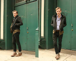 Landon M. - Hugo Boss Moto Jacket With Fur, Levi's® 510 Denim, J. Crew Cardigan, Ben Sherman Oxfords - Mr. rogers gets moto-ed