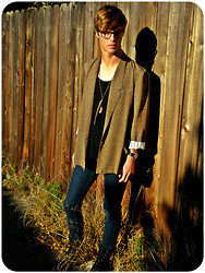 Jarod Wagner - Thrifted Vintage Blazer, Feather Necklace, Urban Outfitters Glasses, Cheap Monday Skinnies, Boots - We Were Born To Die
