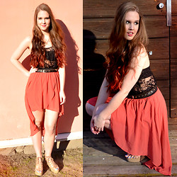 Essi S - Lace Top, High Low Skirt, Wedges - CORAL