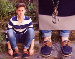 Roberto Ruggiero - H&M Striped Top, H&M Drain Blue Jeans, H&M Deck Shoes, Asos Anchor+Coin+Ring Necklace - I'm the captain of my soul [cit.]