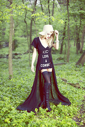 Rachel Lynch - Brown Floppy Hat, Wildfox Couture Soft Baby Tee, Unif Black Cape, Jeffrey Campbell Black Lace Up Riding Boots - Never Love A Cowboy