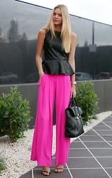 Jessica Stein - H&M Leather Peplum Top, Camilla And Marc Wide Leg Neon Pants, 3.1 Phillip Lim Pashli Handbag - Fuschia