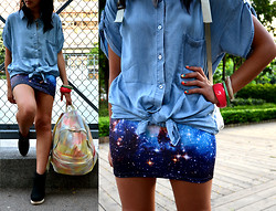 Teresina H. - Monki Shirt, Black Milk Clothing Skirt, H&M Bangles - Galaxy skirt :)