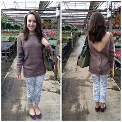 Felicia Froton - Divided Knit Sweater, Merona Purple Flats, Merona Olive Bag - Sassy Pants