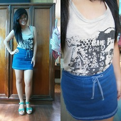 Felicia Cabangal - Surplus Shop Sleeveless Top, Question Collection Blue Skirt, Crocs Green Wedge - Because it's summer.