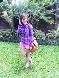 Ella Sunga - Hollister Checkered Polo, Tomato Old Rose Flats, Heather Leather Bag - Nothing Lasts Forever
