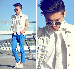Mc kenneth Licon - Vintage Inventor's Sunglasses, Zara Shirt, Gifted From Sis Denim Jeans, Diy Studded Denim Vest - The Inventor's Sunglasses