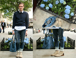 Landon M. - Vintage Crew Neck Sweater, J. Crew Peter Pan Collar, Zara Diy Dip Bleached Jeans, J. Shoes Suede/Leather, Coach Weekender - Hydrangea-ed