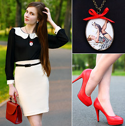 Ariadna Majewska - Toria Blanic Red Heels, Asos Black Belt, Black Blouse With Peter Pan Collar, American Apparel Creme Pencil Skirt, Romwe Retro Red Bag, L.O.L.A Retro Necklace - Retro chic