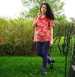 Daniela G. - Thrifted Jacquard Orange Coat, Thrifted Velvet Neon Top, American Apparel Purple Acid Wash, Etsy Vintage Leather Sandals - Go with your gut, it's full of surprises