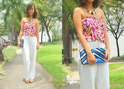 SalveeLangella Retuya - Bazaar Tube Top, Mom Pants, Splash Clutch - Mixed Prints
