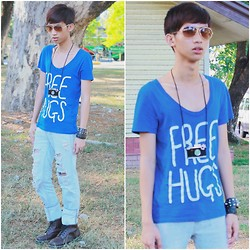 Lanz Paolo - Topman Free Hugs Shirt, F&H Tatter, Dr. Martens Leather Boots, Topman Camera Necklace - Free Hugs