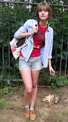 Sarah Bosserman - H&M Feather Earings, American Eagle Blue Button Up, Steve Madden Leather Oxfords, Forever 21 Striped Shorts, Rossana Union Jack, Red Shirt - I WANT TO PAINT IT RED