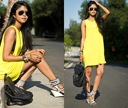 Sheryl L - Zara Dress, Coach Leather Backpack, B By Aperire Shoes - NOT SO MELLOW YELLOW