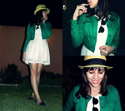 F Esther - Collins Green Denim Jacket, Ray Ban Clubmaster, White Lace Dress, Melissa Slippers - FOUNDATIONS