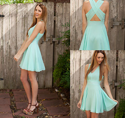 Madeline Becker - Love Mint Chiffon Cross Back Dress, Kenneth Cole Brown Sandals - Hey there love let's get to catching up.