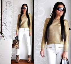 Aniko V. - Kenneth Cole Bag, Kenneth Cole Heels, Zara Pants, H&M Sweater, Sputnyik Shop Sunglasses - Golden girl