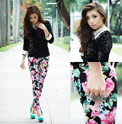 Kryz Uy - Sheinside Floral Pants, Clothes For The Goddess Sequined Top, Feet For A Queen Pumps, House Of Luxe Necklace - Call It Spring