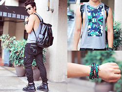 David Guison - Grafea Leather Rucksack, Rex Clothing Camo Shirt, Defacto Industry Pants Designed By Me - Hard Cargo