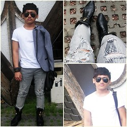 Pao Mandac - De By My Fair Lady Shoes Boots With Ensembles, Sm Dept. Store Black Leather Bag, Forever 21 Aviator Shades, Zara Round Shirt, Mint Blazer, Sm Dept. Store Accesories, Ripped Pants - RUGGED AND TUX-ish