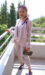 Anastasia Mamaeva - Prada Shoes, Bcbg Pants, Louis Vuitton Clutch, Bcbg Jacket, Tommy Hilfiger Top, Marc&Spencer Scarv - On a pink moon