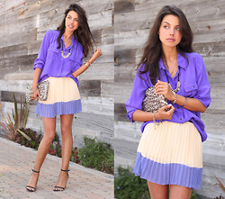 Annabelle Fleur - J. Crew Blouse, Sheinside Skirt, Stylebymarina Clutch - Purple n' Pleats