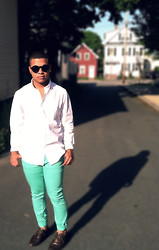 Ishmail Soto - H&M Round Sunglasses, H&M White Button Up, Custom Mint Pants, Forever 21 Bronze Oxfords - Slight Work.