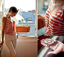 Hollie Harrington - Kookai White Skinny Jeans, Silver And Mother Of Pearl Ring, Orange Striped Tank With Pocket Detail, Homemade Shell Earrings, Falling Whistles   Gunmetal Whistle - The New Nautical