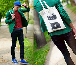 Adam G. - House Cap, Asos Bag, Asos Shoes, Pull & Bear Jeans, Tieups Belt, Pull & Bear T Shirt, Zara Blazer, Asos Necklace - Fire...