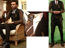 Dualleh Abdulrahman - Diy Spats, Vintage Pocket Watch Chain, Zara Diy Blazer, Zara Diy Pants, Vanilia Suede Jacket, Vintage Collar Pin - Summer dandy 2