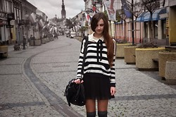 Marta Izabella - Zara Black Skirt, Bubba Gamp White Shirt With Collar, Bershka B&W Striped Sweater - 13032012